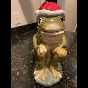 AMERICAN RETRO Frog with Santa Hat Cookie Jar